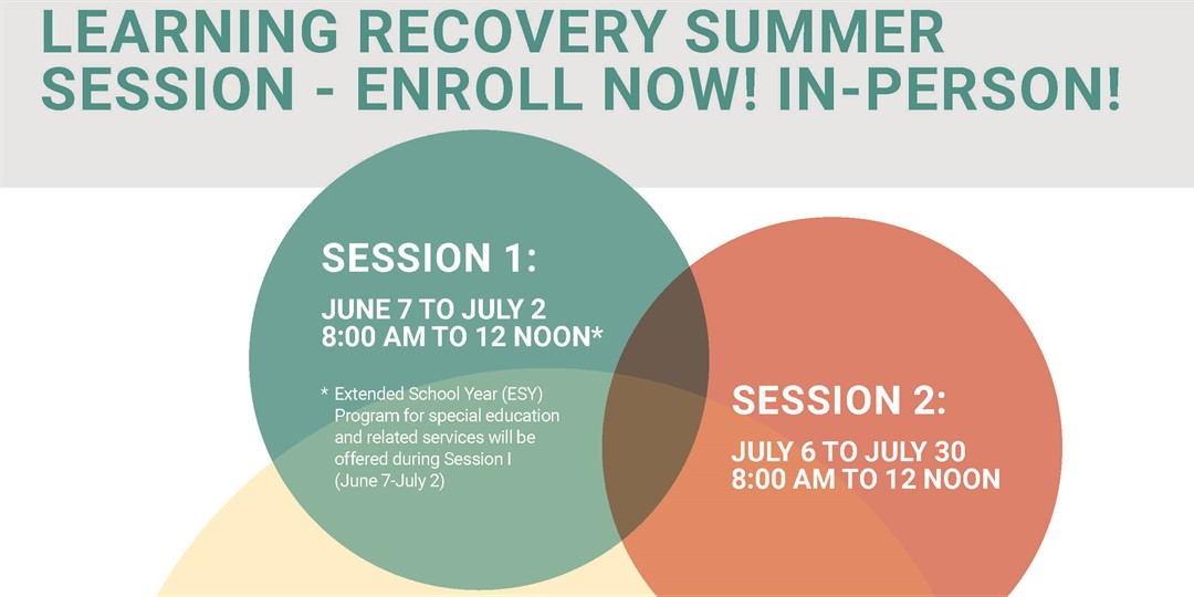 Learning Recovery Summer Session Enroll Now Banner